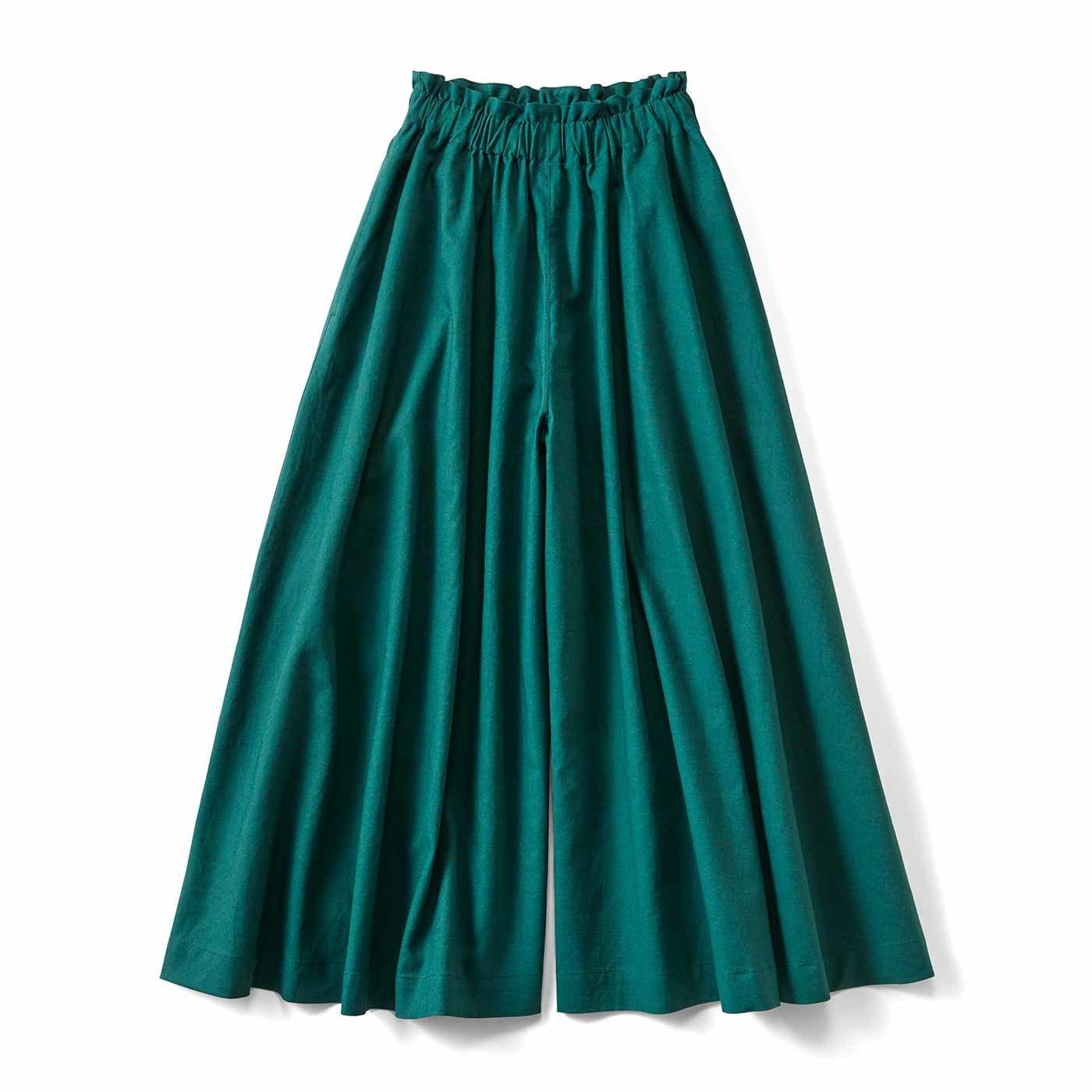 【3~10日でお届け】スカートみたいな ちょい厚コットンリネンのボリュームガウチョパンツ〈フォレストグリーン〉