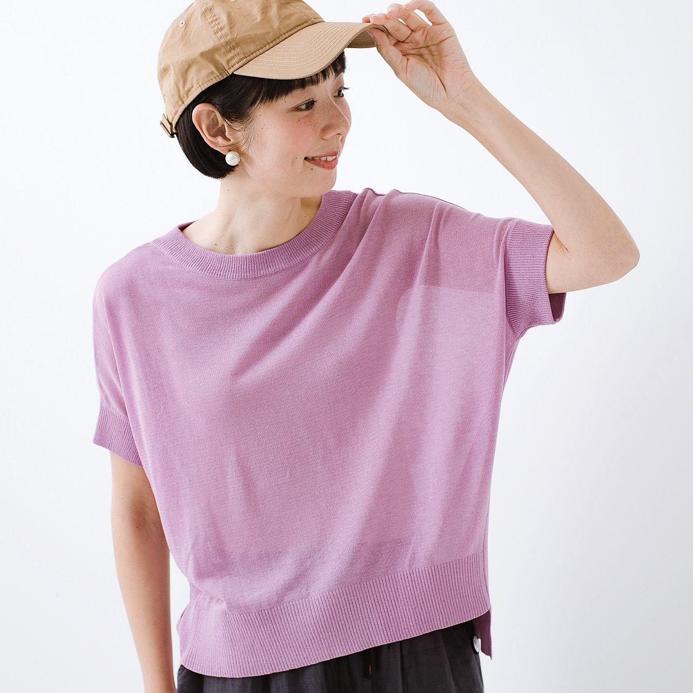 フラウグラット 大人のTシャツ代わりに毎日着たい 透け感が魅力の 麻混ニットトップス