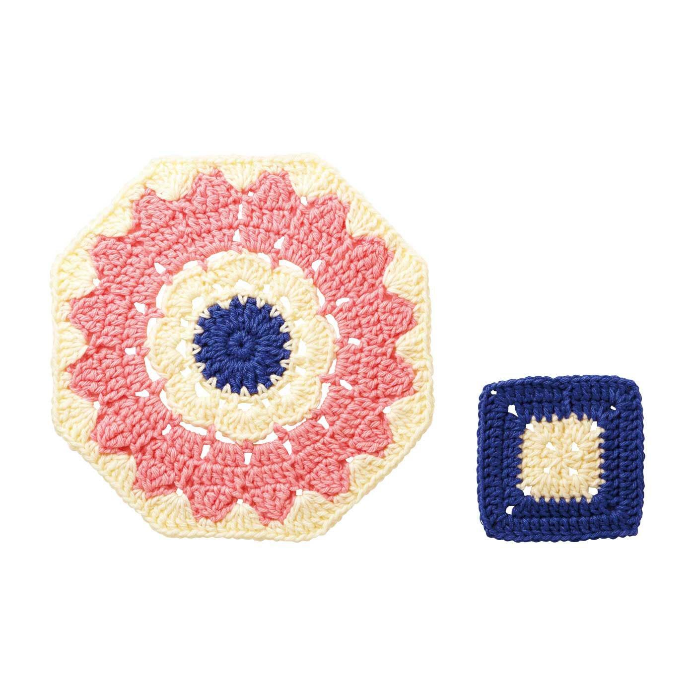 大きくつないでぬくぬく抗菌マット かぎ針編みお花モチーフのおざぶ