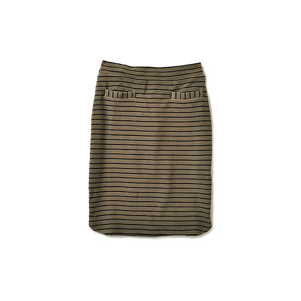【pick up shop】NUSY ウエストゴムのらくちんリップルボーダースカート:カーキ