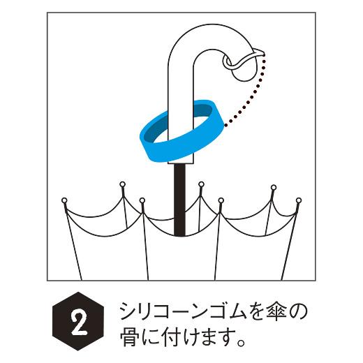 シリコーンゴムを傘の骨に付けます。