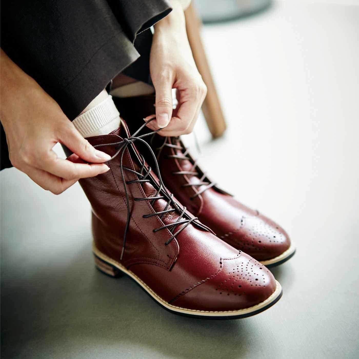 長田靴職人が叶(かな)えた 理想の本革ウィングチップブーツ〈レッドブラウン〉[本革 ブーツ:日本製]