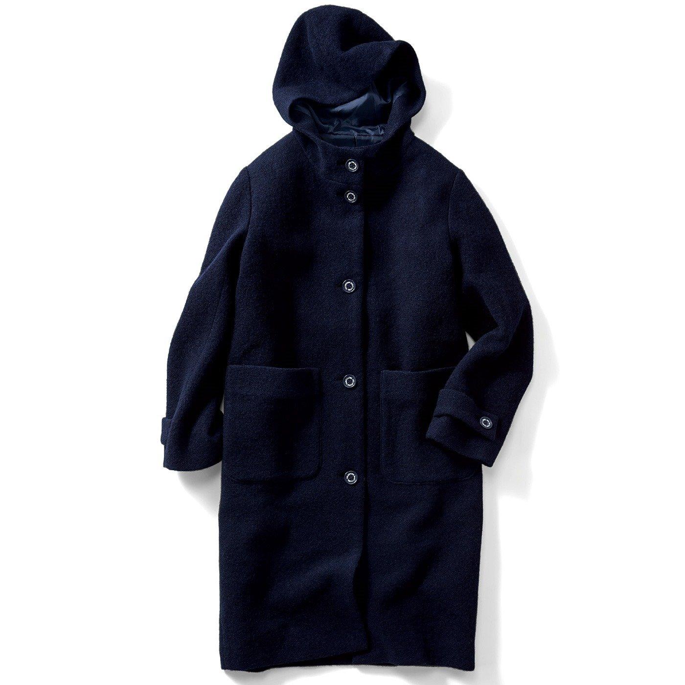 IEDIT[イディット] ウールがたっぷり入って軽くて暖か スライバーニット素材のきちんと見えすっきりコート〈ネイビー〉