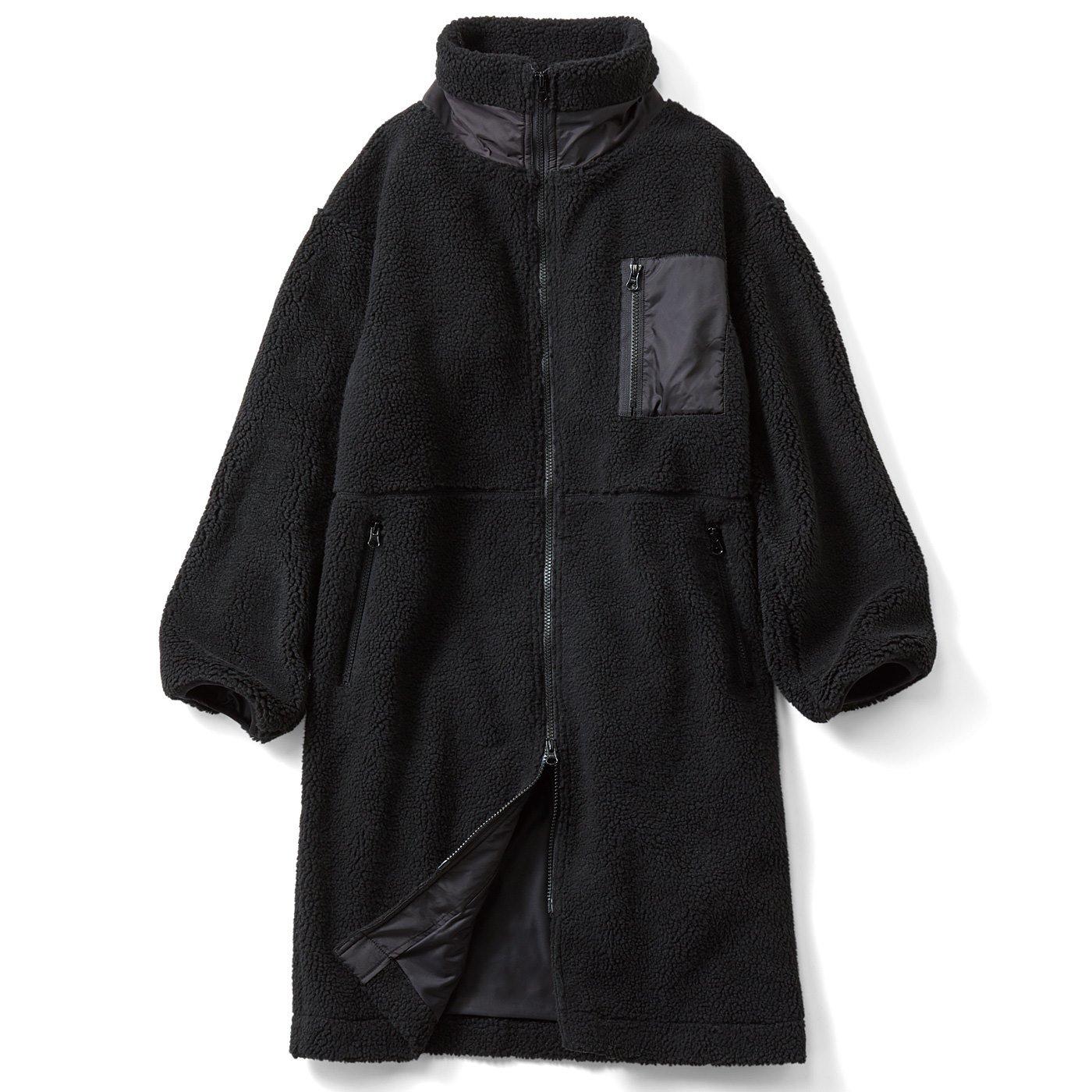 IEDIT[イディット] カジュアルを楽しむ ボア素材のロングコート〈ブラック〉