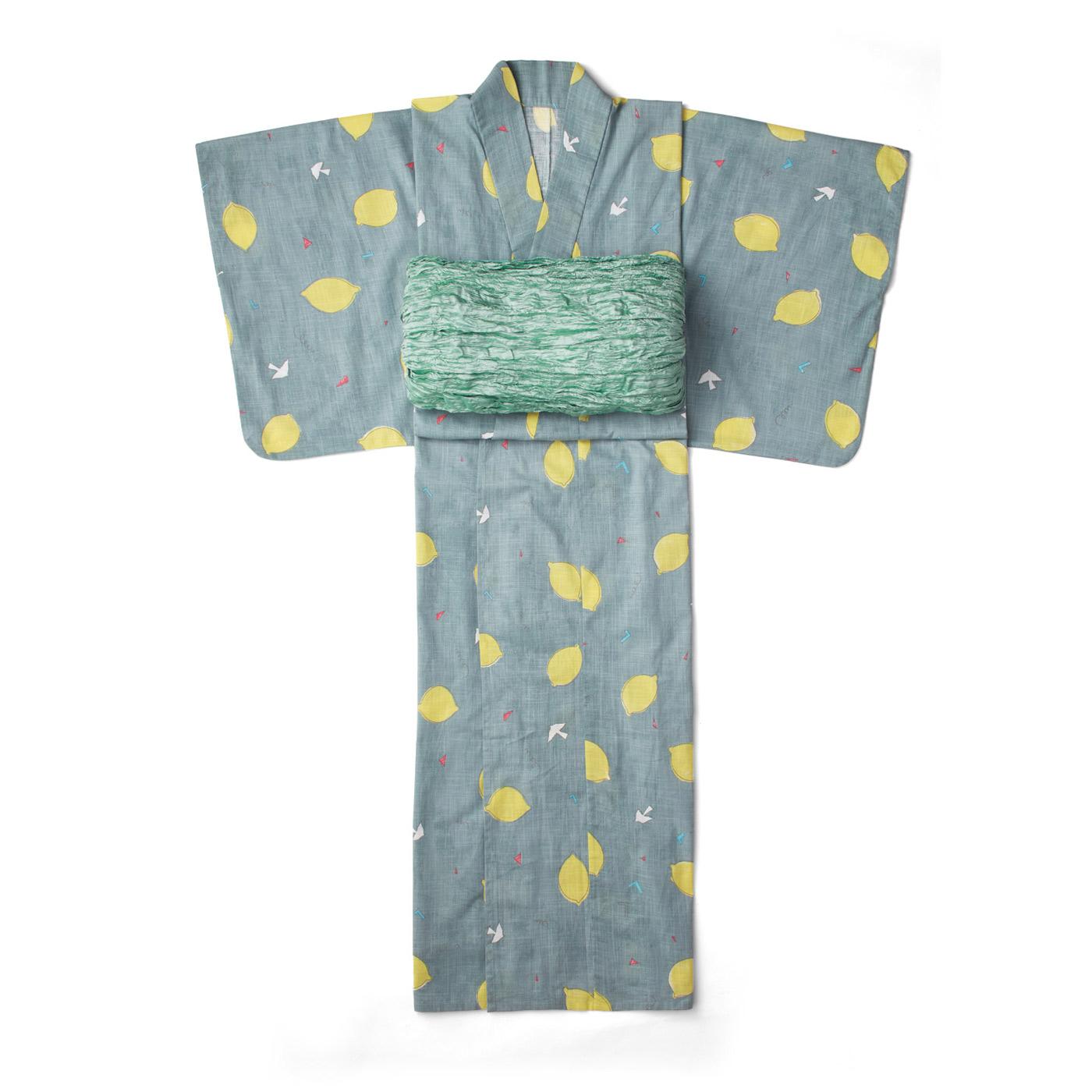 京都Subikiawa食器店さんとつくった レトロなレモン柄の浴衣(ゆかた)〈レディース〉