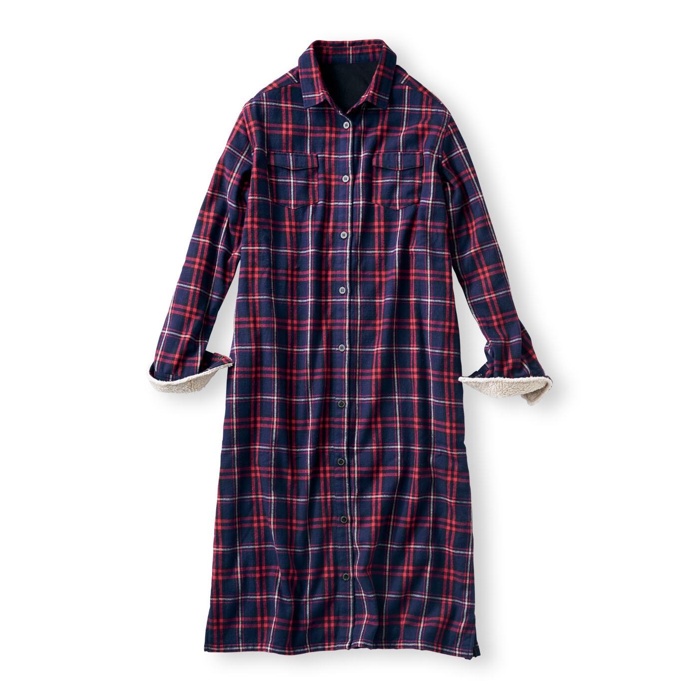 フェリシモ リブ イン コンフォート ワンピにもはおりにもなる サッと着て全身あったか 裏フリースチェックシャツワンピース〈ネイビー〉