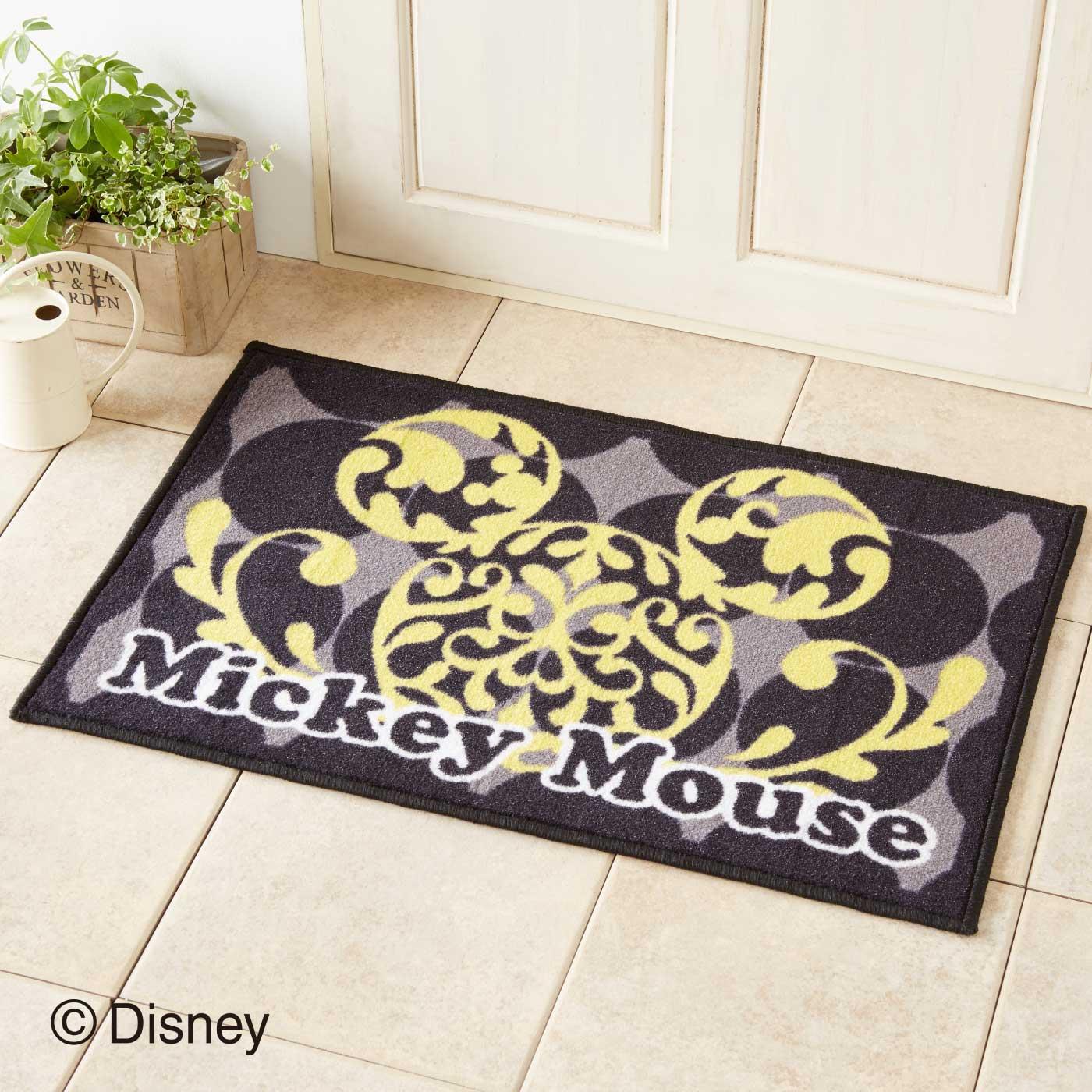 シルエットがおしゃれな ミッキーマウス ドアマットM