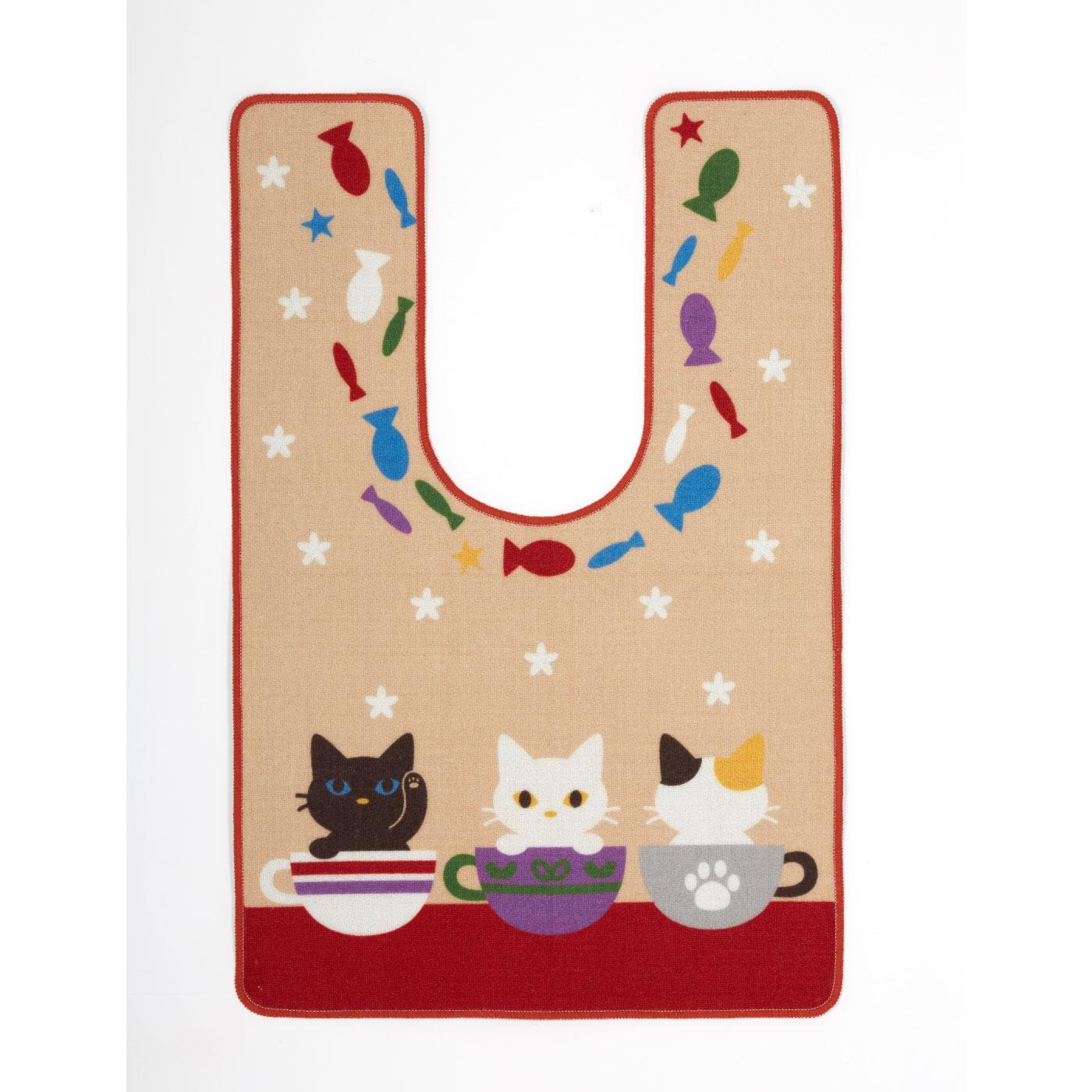 かわいい子猫フレンズ ワイドロングトイレマット