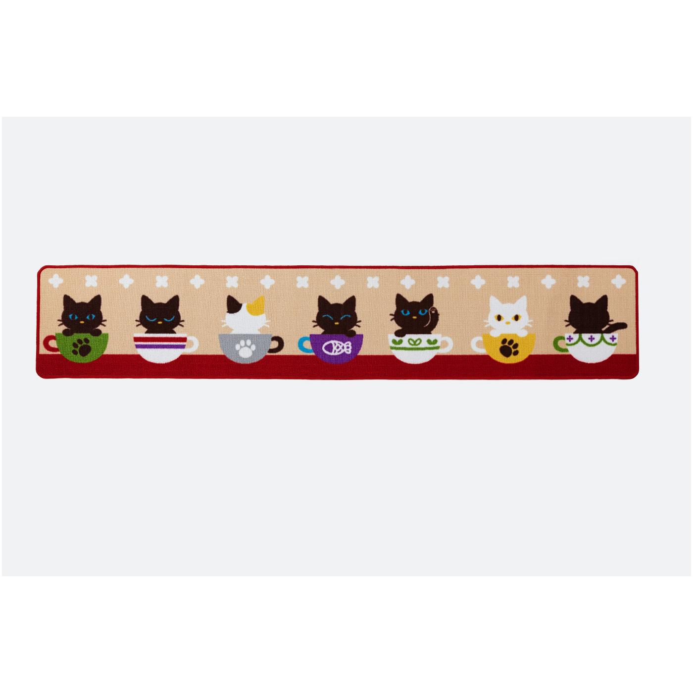 かわいい子猫フレンズ ロングキッチンマット