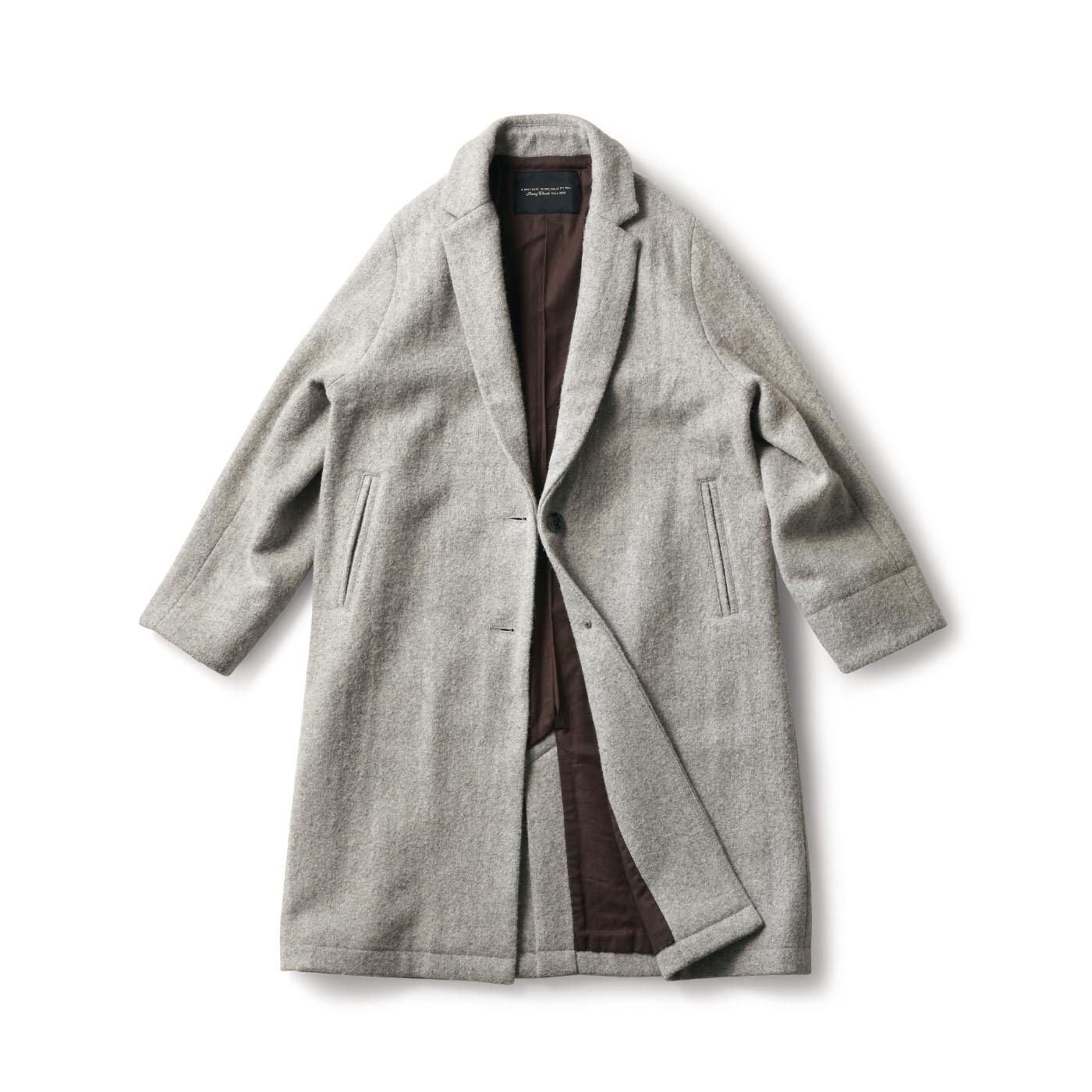 フェリシモ SUNNY CLOUDS グレーツイードのチェスターコート〈レディース〉