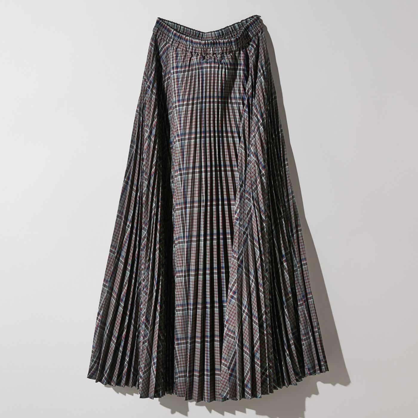MEDE19F チェックプリーツロングスカート〈グレー〉