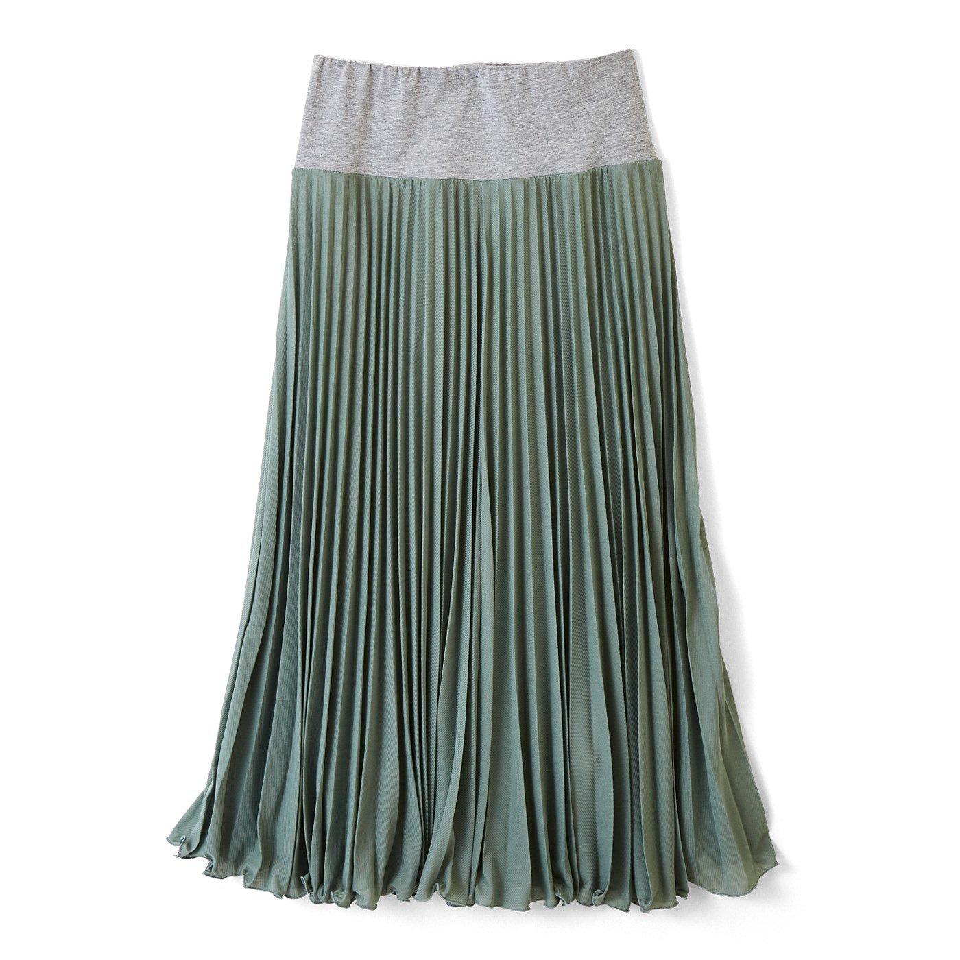 フラウグラット ウエストらく設計 アースカラーの薄軽ふんわりプリーツスカートの会