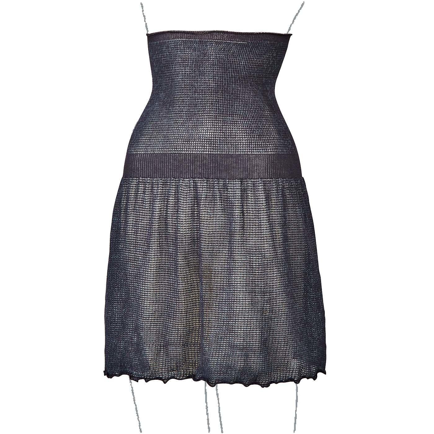 綿混素材で仕立てた ゆる編みニットの毛糸の腹巻き付きスカートの会