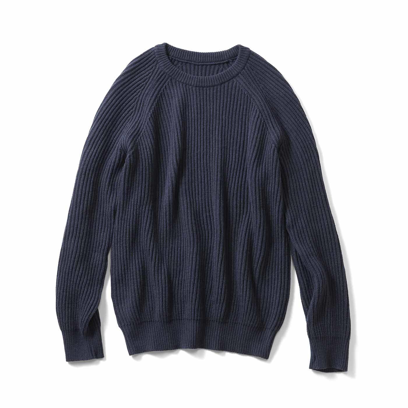 THREE FIFTY STANDARD 畦(あぜ)編みのざっくりニットセーター〈ネイビー〉