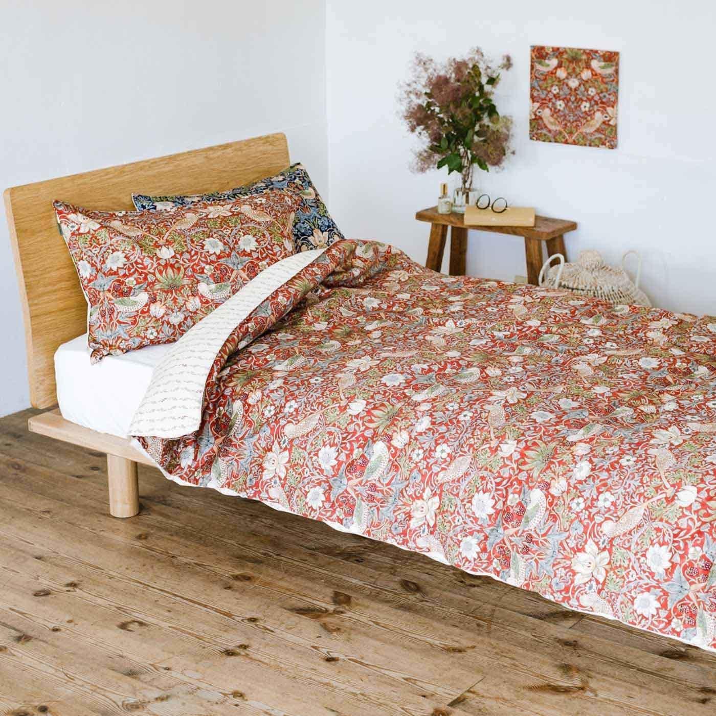 モリスギャラリー 時代を超えて愛されるデザインで眠る 綿100%掛けふとんカバー いちご泥棒〈シングル〉