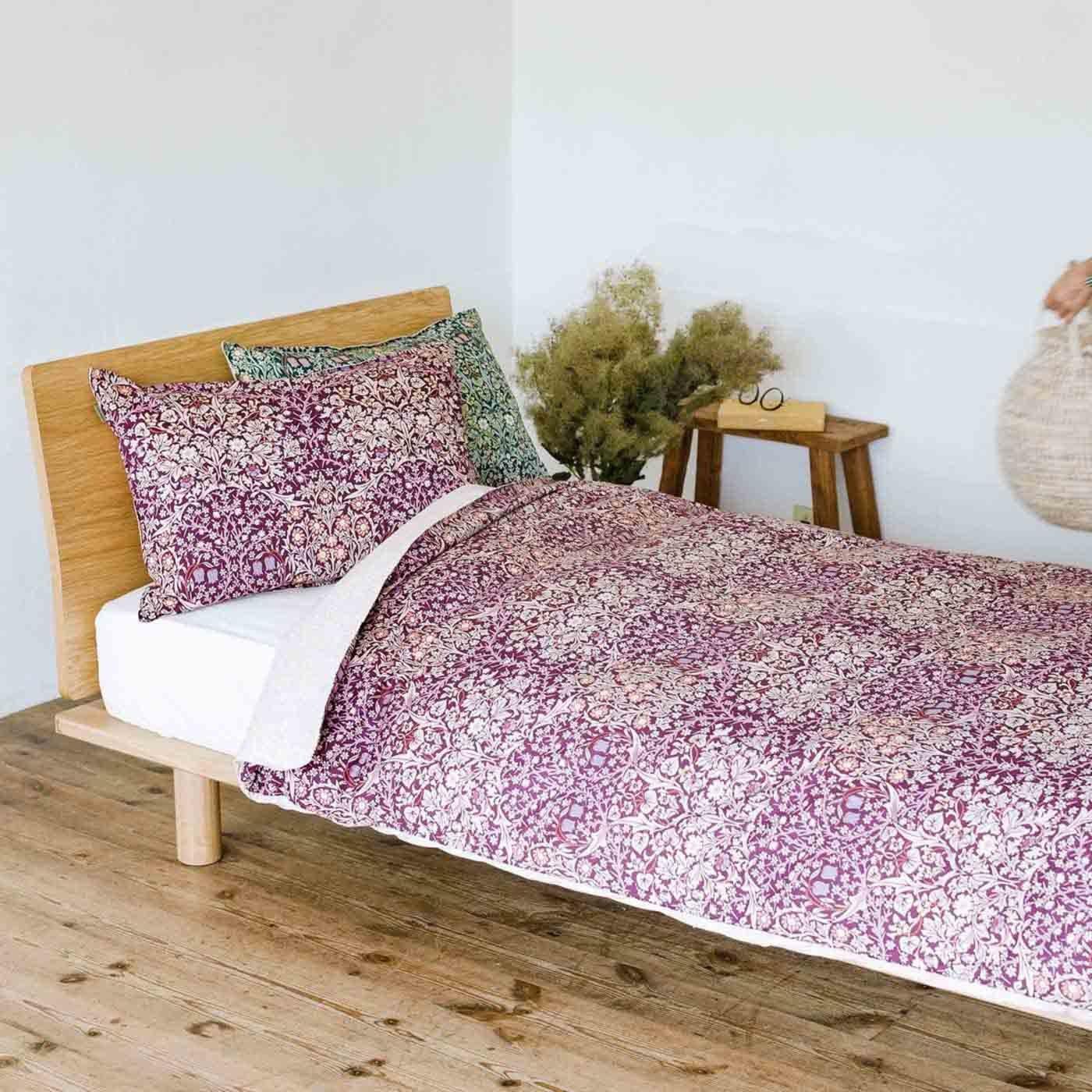 モリスギャラリー 可憐な花に包まれて眠る 綿100%掛けふとんカバー ブラックソーン〈シングル〉