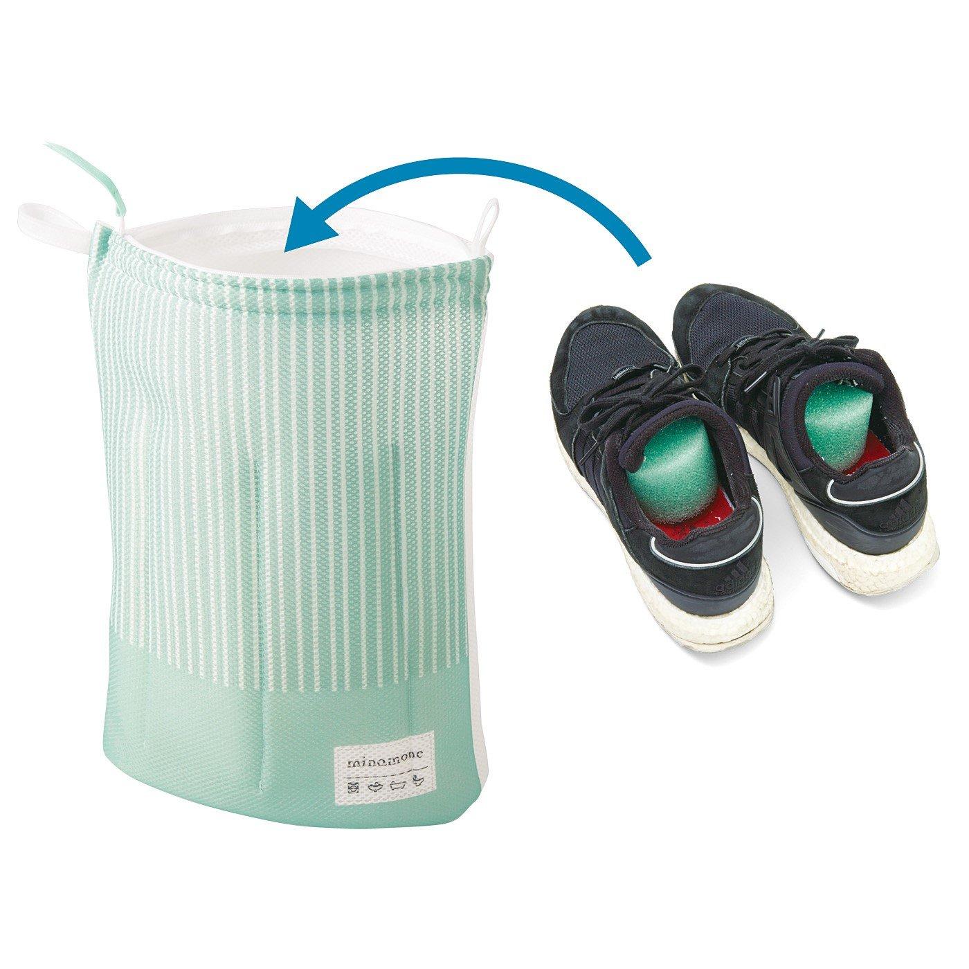 クッション効果で洗濯機OK 28cmサイズも入るシューズ用洗濯ネット