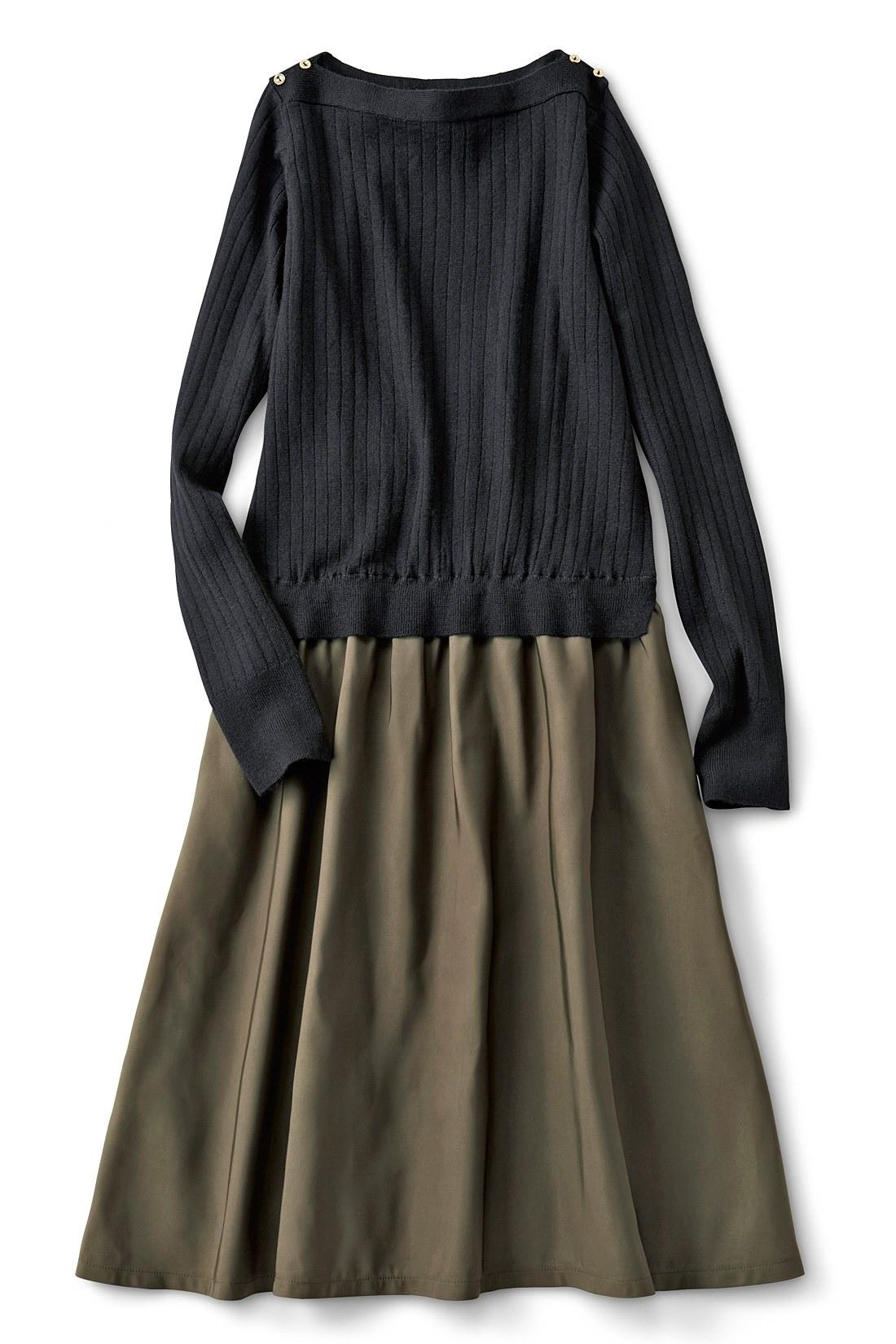 <ブラック・カーキ> スカート部分はポリエステルで、しわが気になりにくいのがうれしい。
