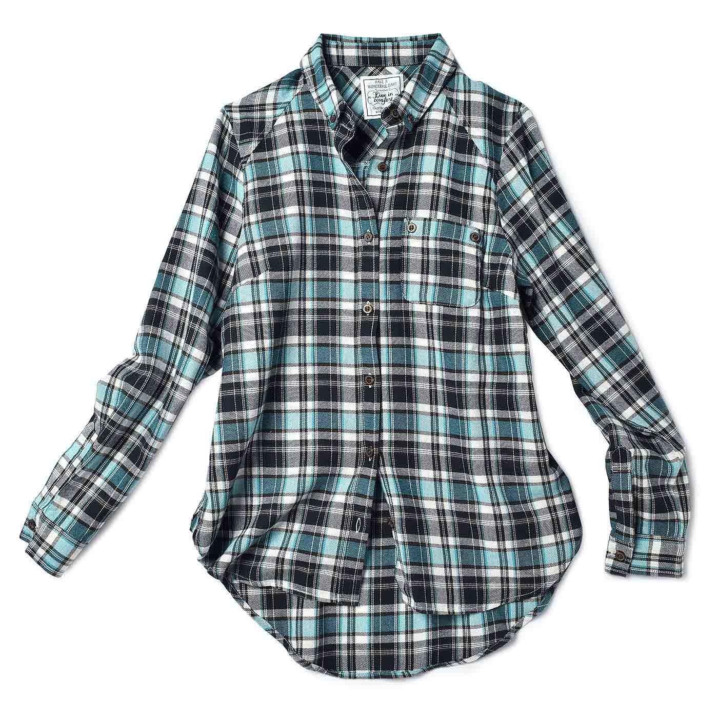 リブ イン コンフォート 後ろ長めがポイント! 使えるチェックシャツ〈ライトブルー×ブラック〉