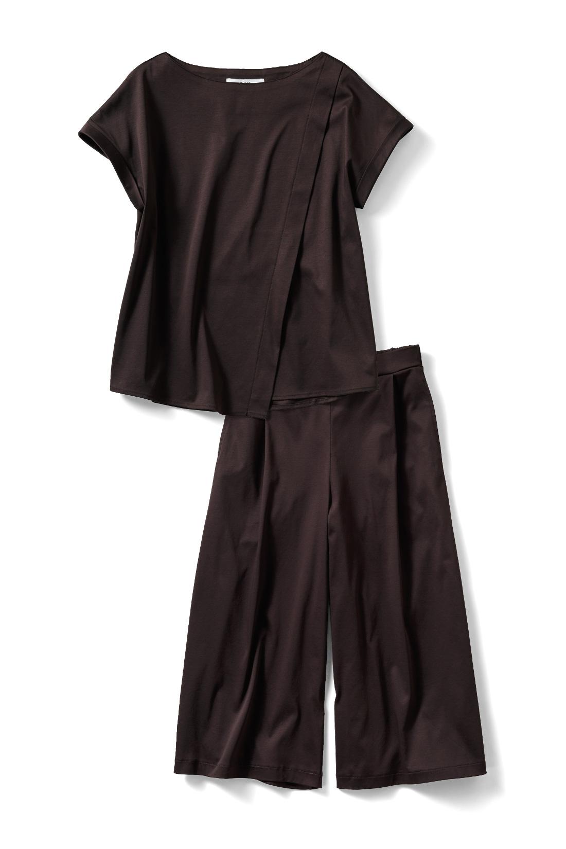今期の注目カラー〈ビターブラウン〉上下単品でも着まわしできて便利!