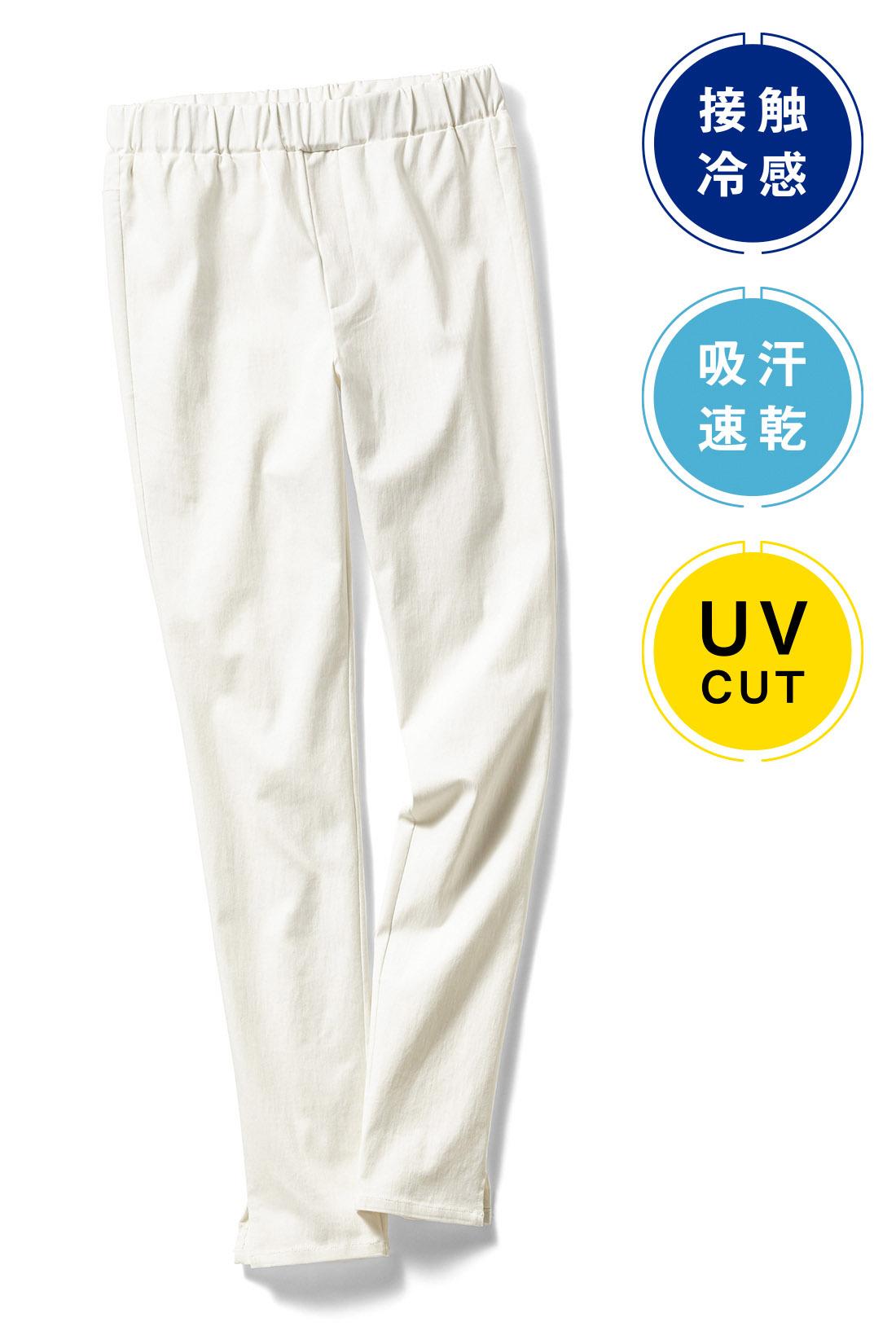 上品で女っぽい〈ホワイト〉 総ゴムのウエストは、着用時にギャザーが目立たず、ジップフライ風のステッチをあしらうなど、フロントインしやすい仕様。