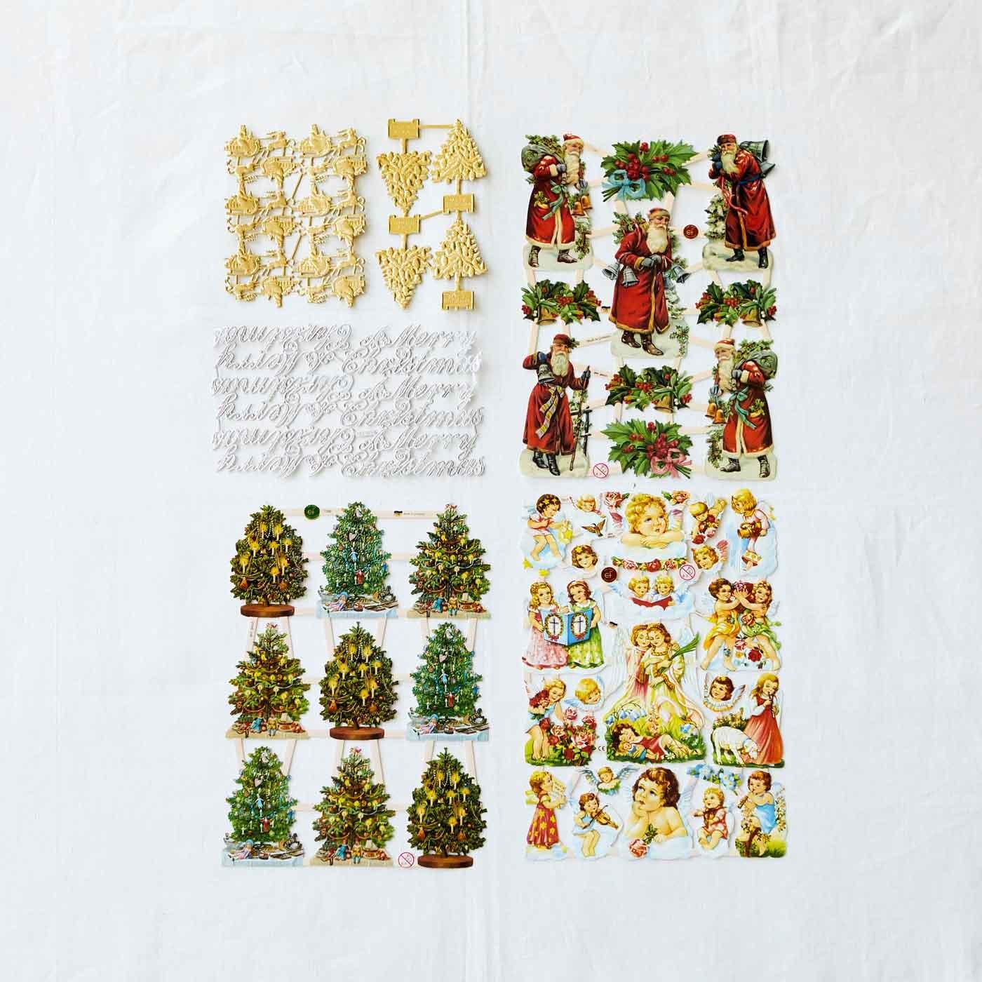 ドイツからやってきた美しい紙細工 デコレーションにぴったりのクロモス (クリスマスモチーフアソート)