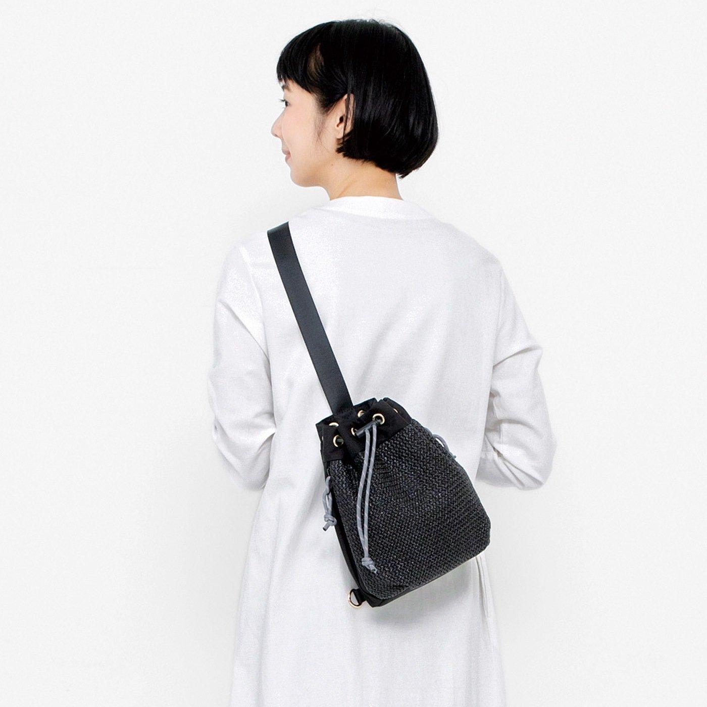 UP.de サッと取り出せる かごバッグみたいな巾着(きんちゃく)ボディーバッグ