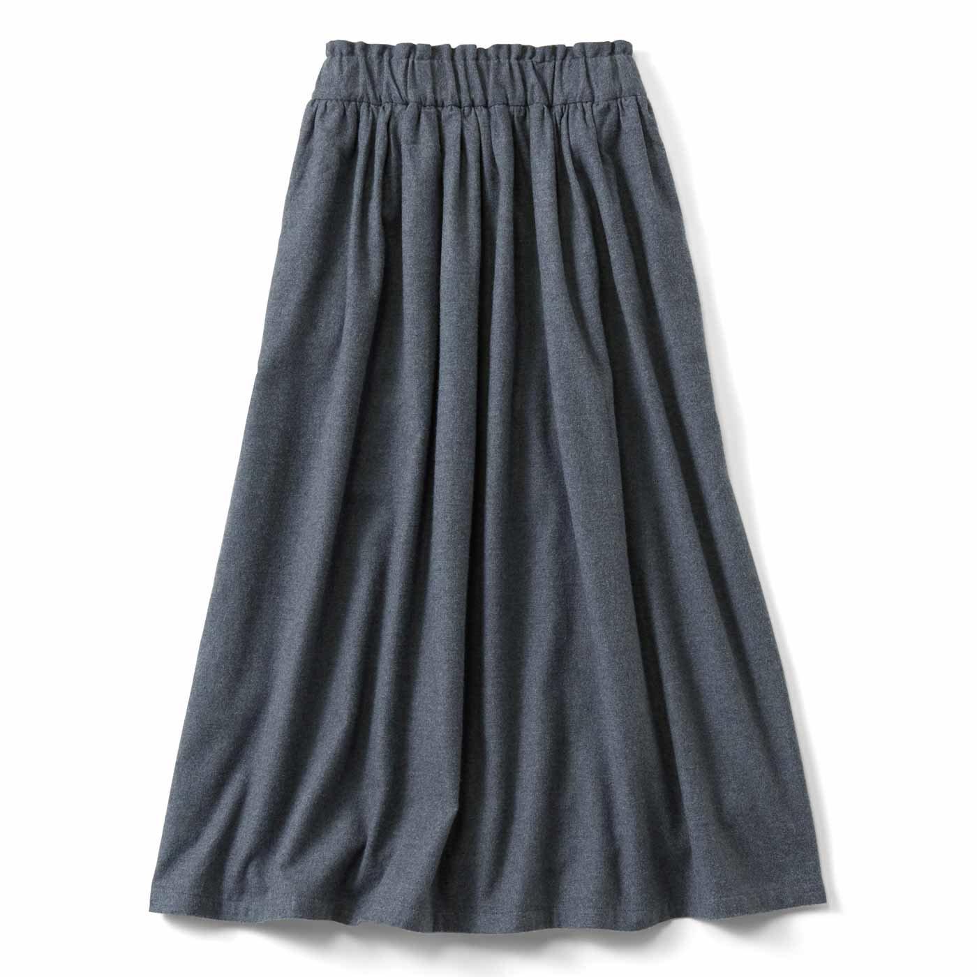 THREE FIFTY STANDARD やわらか起毛のギャザースカート〈杢グレー〉