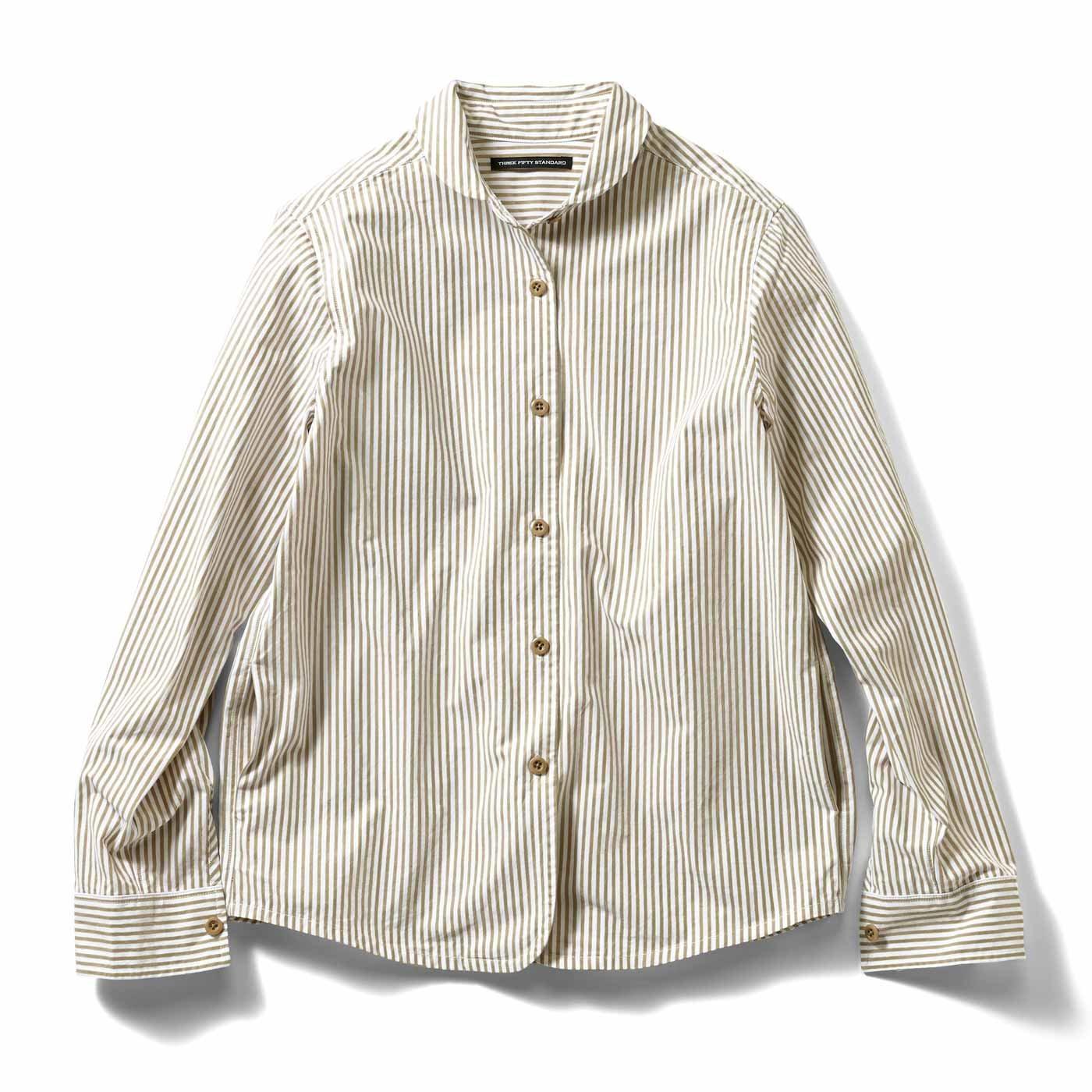 THREE FIFTY STANDARD ジャケットみたいに着こなす ストライプシャツ