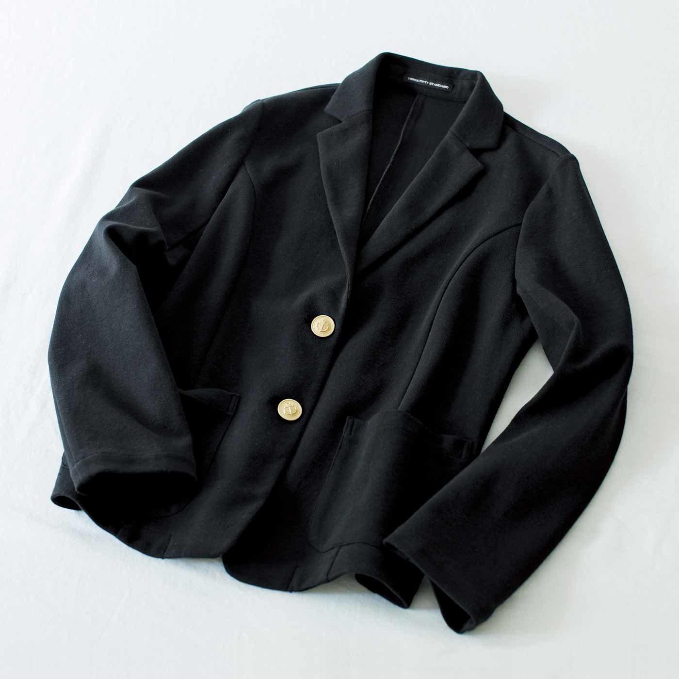 THREE FIFTY STANDARD カットソーきれいめジャケット〈ブラック〉