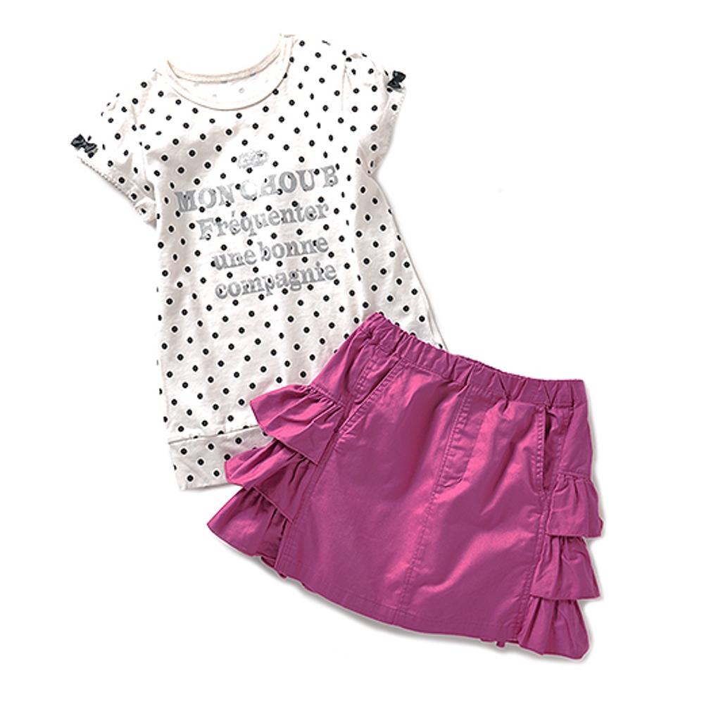 モンシュー ベー クールでキュート!! 遊び心いっぱいのちょい甘ガールズスーツ〈ピンク×オフホワイト〉