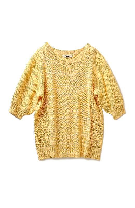 前後の身ごろと袖にリブ。それぞれ異なる編み地を欲張りにミックス。
