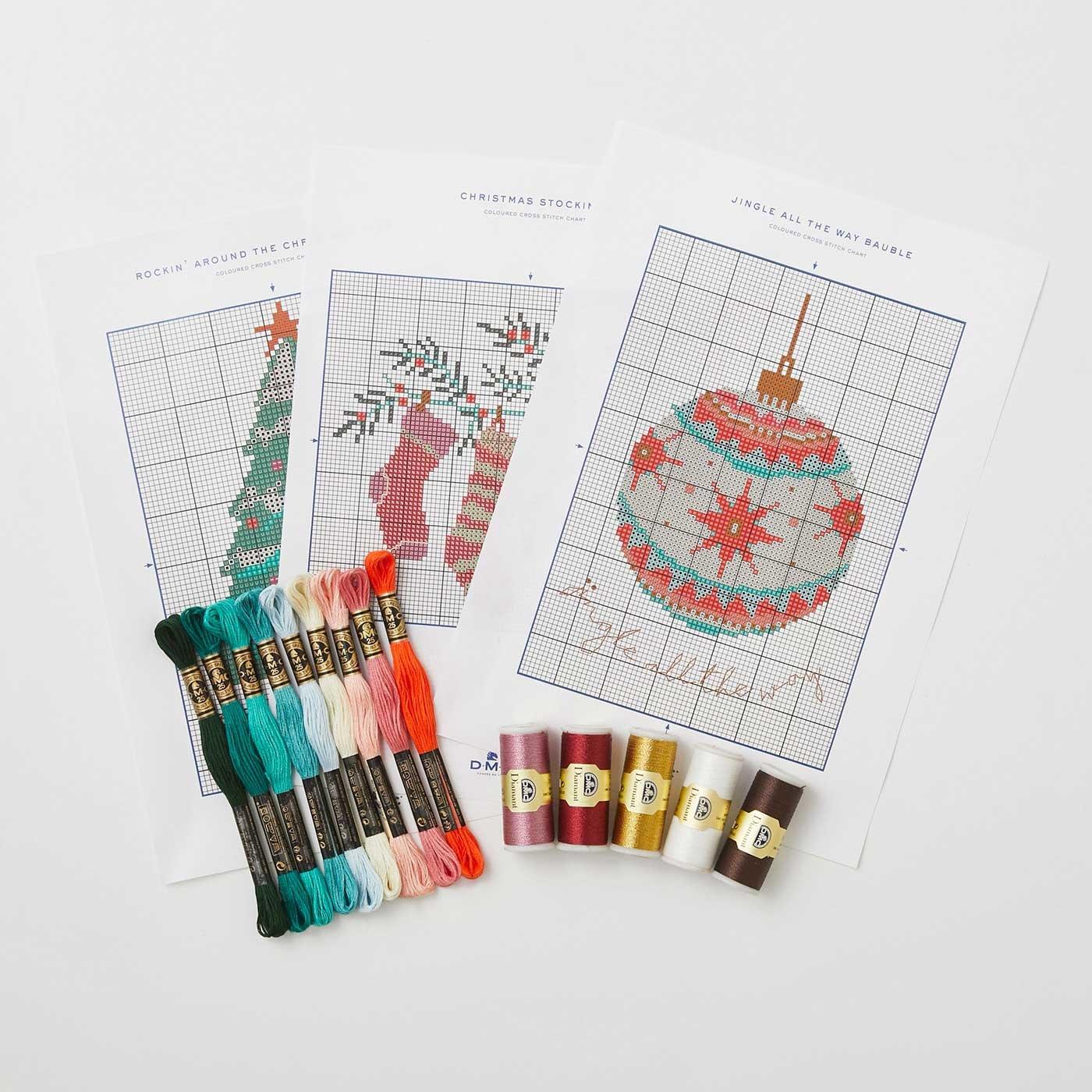 クリスマス図案3種と刺しゅう糸セット