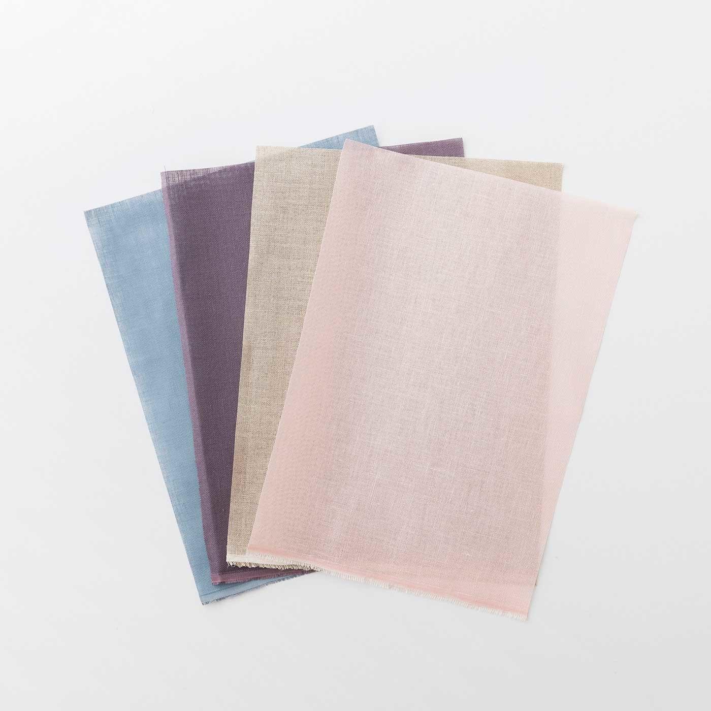 カラーリングが美しい リネンの刺しゅう布 4色セット