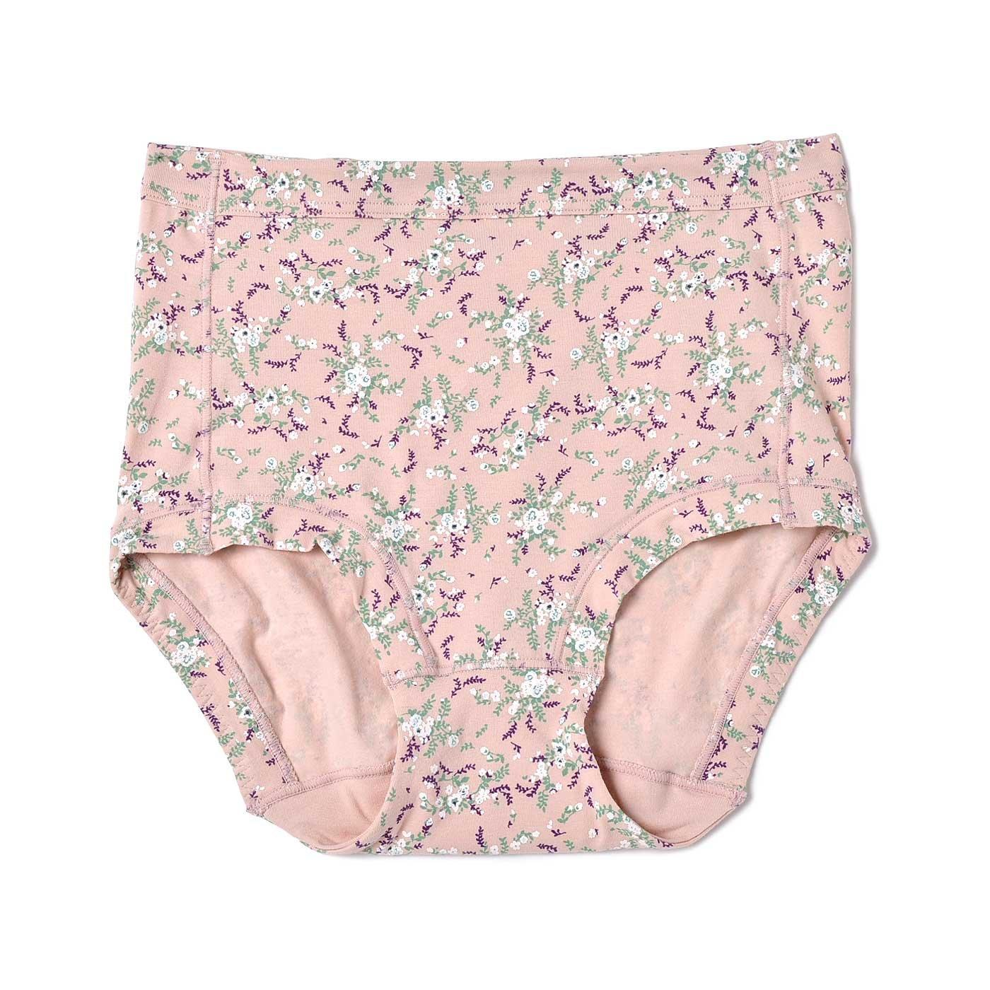 リラックスしながらきれいはぐくむ おしりすっぽり小花柄ショーツ〈ピンク×グリーン×ホワイト〉