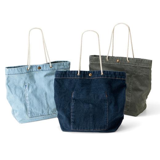 古着屋さんで見つけたような くたくたデニムのショップバッグの会