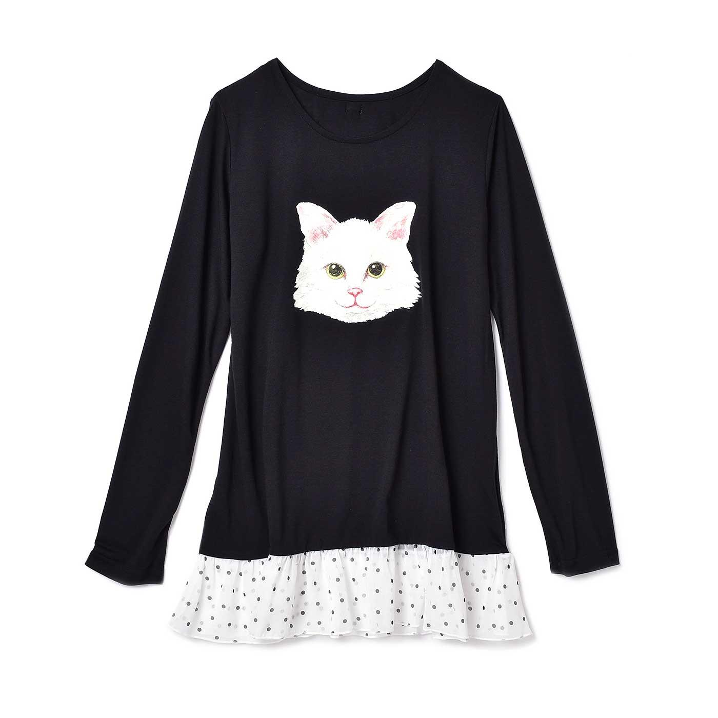 フェリシモキッズ×猫好き目線でつくった にゃんともおしゃれな長袖トップス〈レディース〉〈ブラック×ホワイト〉