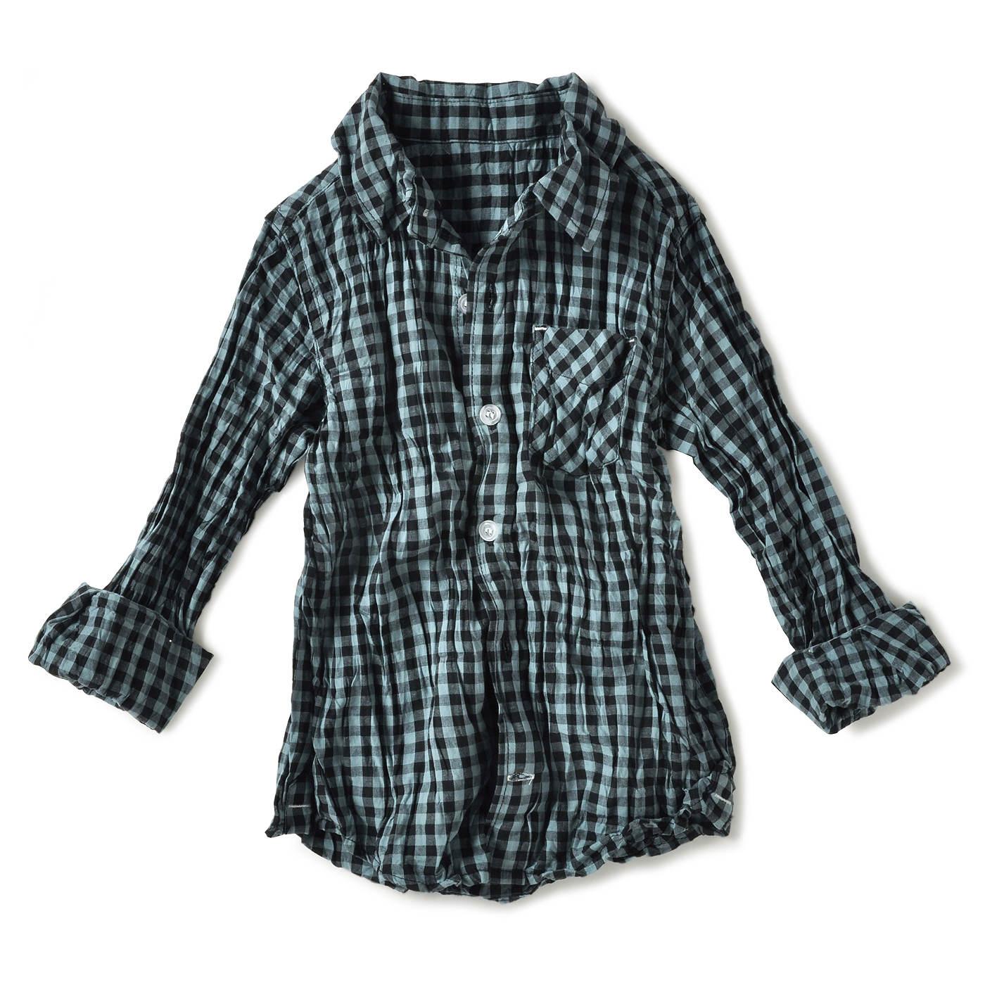クリンクル加工がおしゃれなUVチェックシャツ〈キッズ〉(ブルーグリーン×ブラック)
