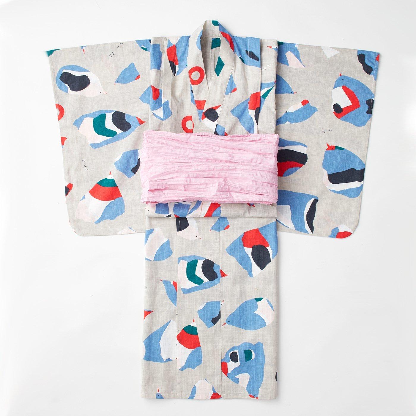 京都Subikiawa食器店さんとつくった 風船鳥柄の浴衣(ゆかた)