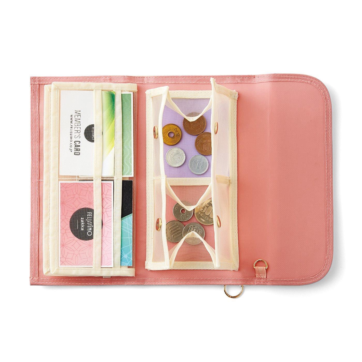 LITALICO×CCP 見渡しやすさ&つかみ取りやすさ抜群 スマホも入る透けるメッシュ財布〈ピンク〉