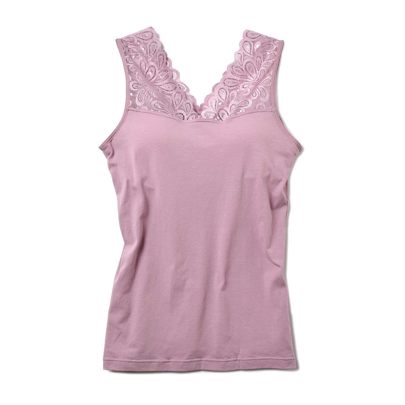 美胸ラインもかなう 重ね着美人の華やかレースブラインナー〈ダークピンク〉