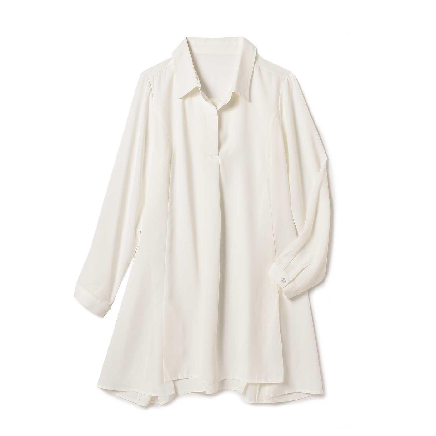 リブ イン コンフォート しゃりっと素材のAラインシャツチュニック〈ホワイト〉