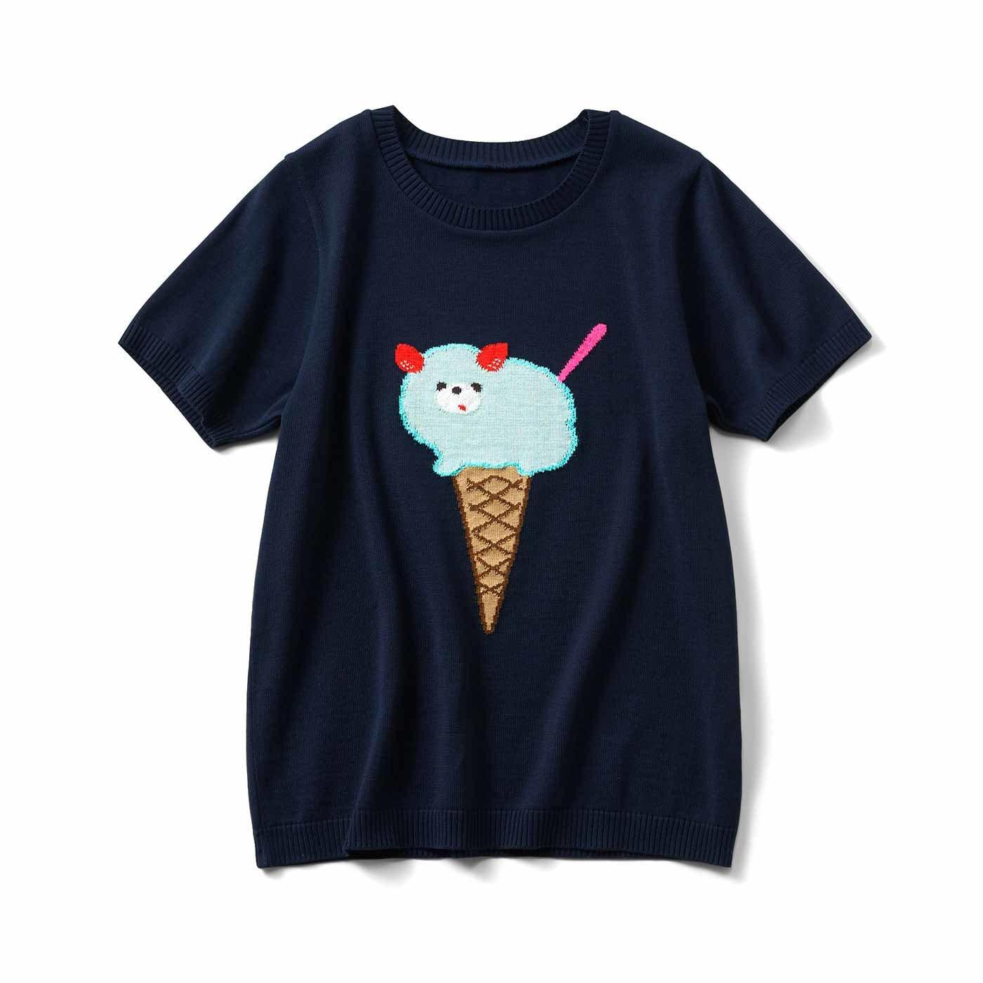 へんてこどうぶつ アイスクリーム柄のニットトップス