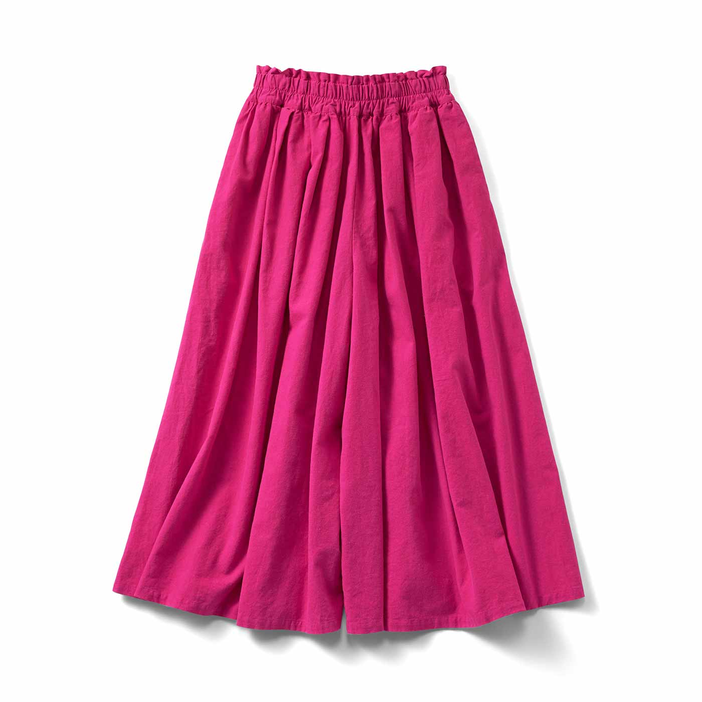 スカートみたいなボリュームの麻混ワイドパンツ〈ピンクベリー〉