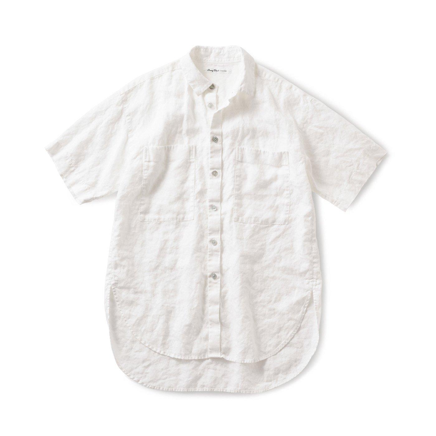 サニークラウズ やっぱり麻が好きちょい長シャツ〈メンズ〉白