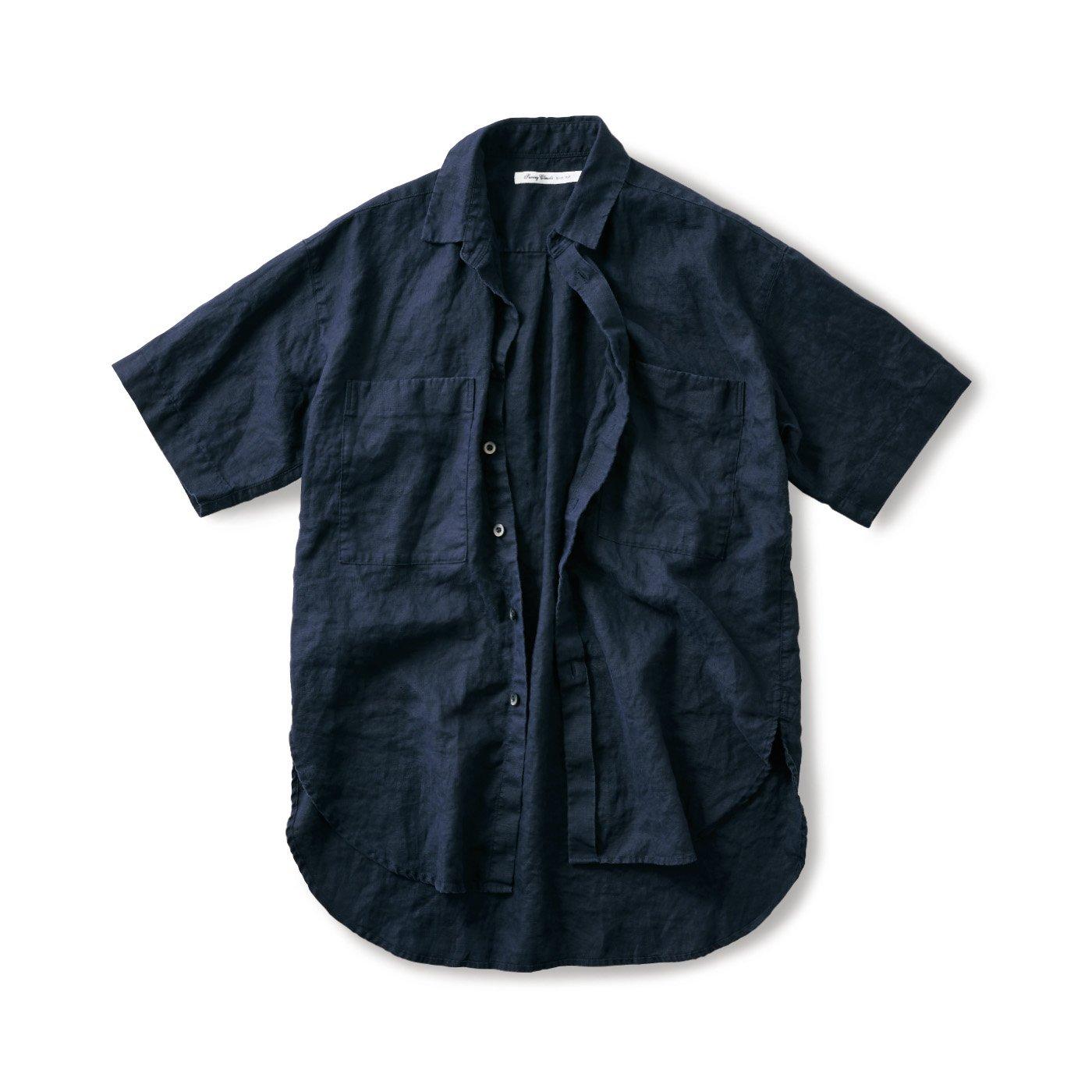 サニークラウズ やっぱり麻が好きちょい長シャツ〈メンズ〉紺