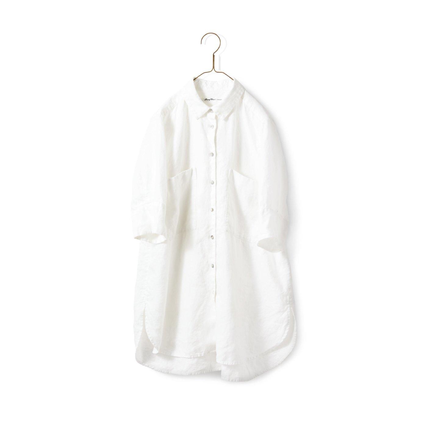 サニークラウズ やっぱり麻が好きちょい長シャツ〈レディース〉白