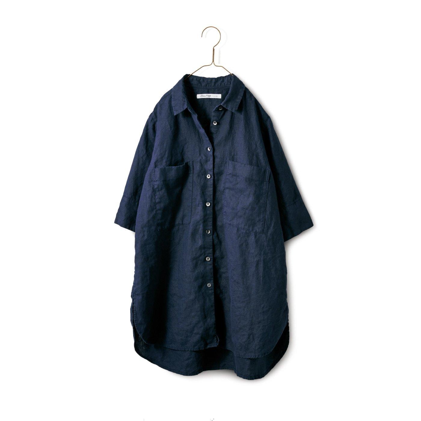 サニークラウズ やっぱり麻が好きちょい長シャツ〈レディース〉紺