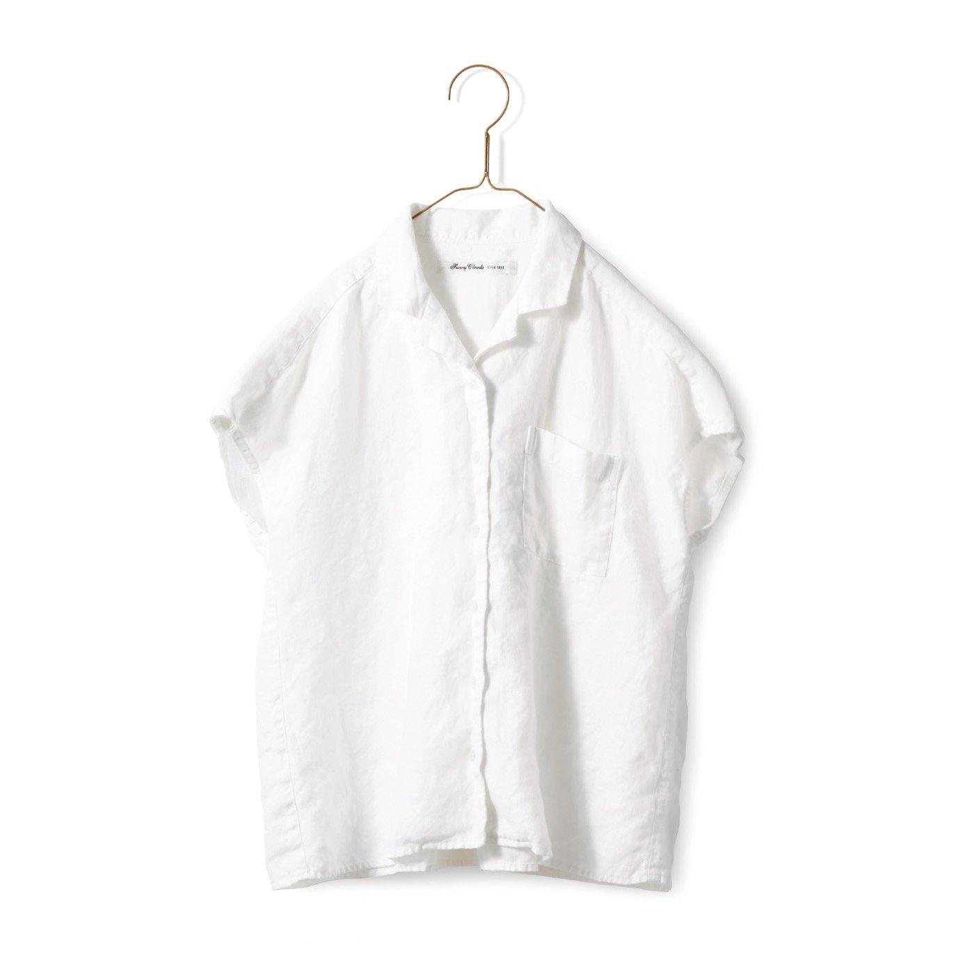 サニークラウズ やっぱり麻が好きみじか丈シャツ〈レディース〉白
