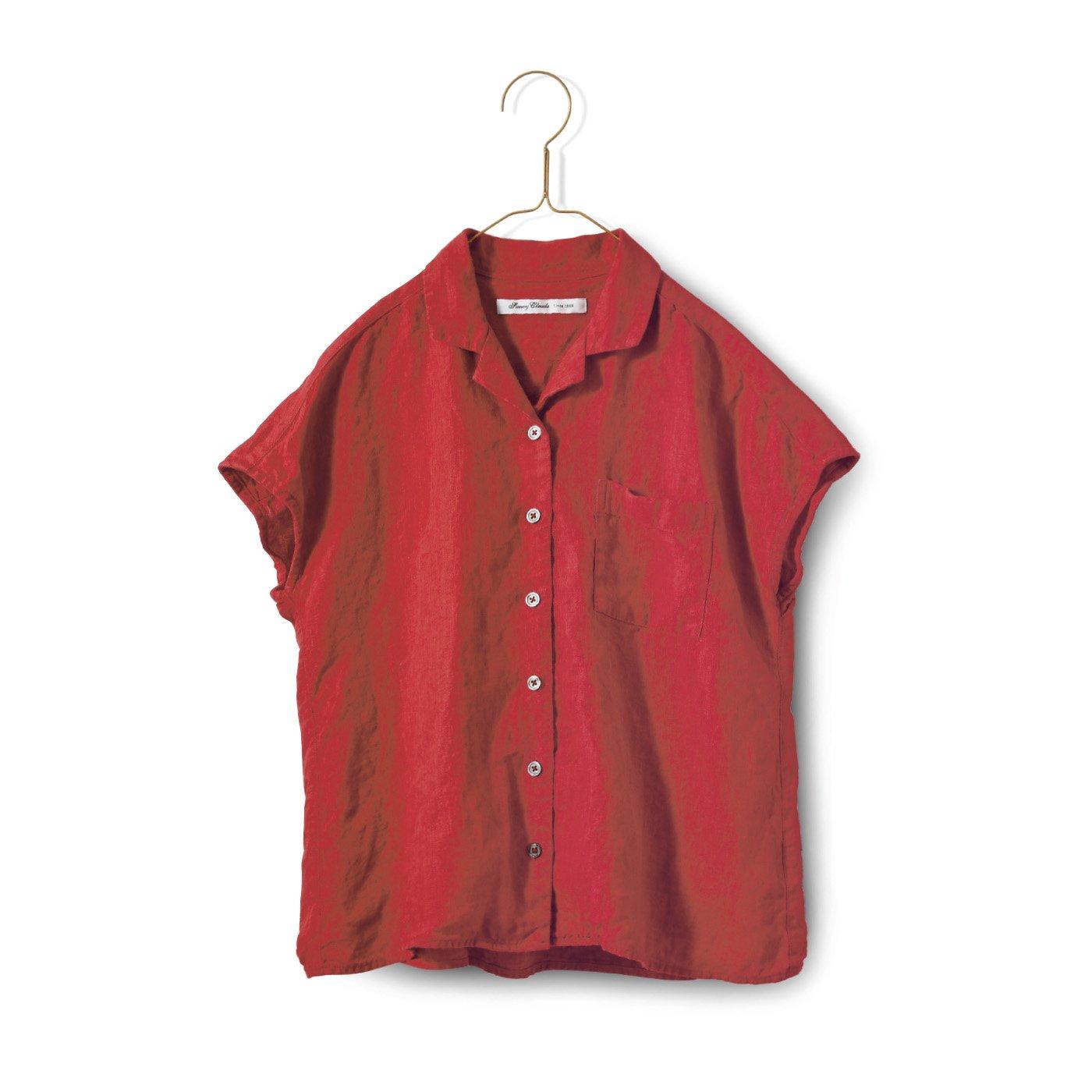 サニークラウズ やっぱり麻が好きみじか丈シャツ〈レディース〉赤